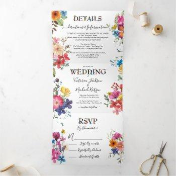 pressed flowers wedding tri-fold invitation