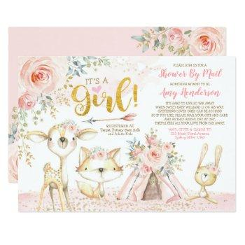 pretty boho woodland pink gold baby shower by mail invitation