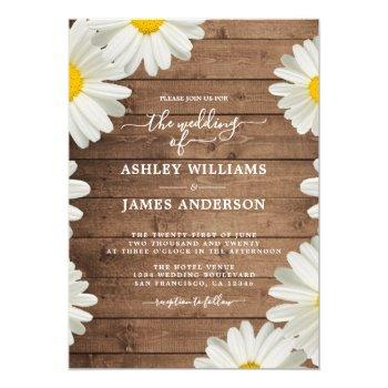 pretty daisies white floral rustic wood wedding invitation
