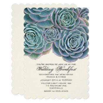 pretty real succulents wedding breakfast invitation