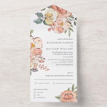 pretty spring floral watercolor wedding all in one invitation