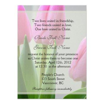 pretty spring pink tulip flowers christian wedding invitation