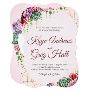 pretty succulents in shades of pink, red, & purple invitation