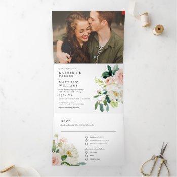 pretty watercolor floral all-in-one photo wedding tri-fold invitation
