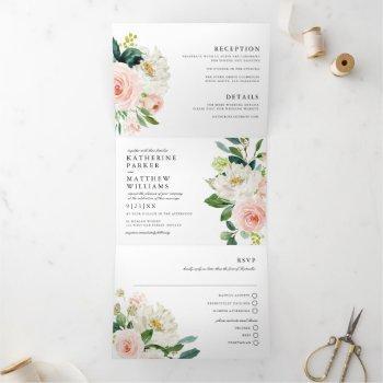 pretty watercolor floral all-in-one wedding tri-fold invitation