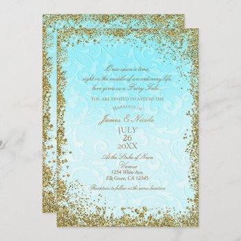 princess blue elegant storybook swirl wedding invitation