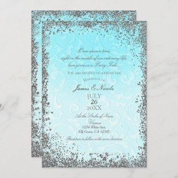 princess blue silver elegant storybook wedding invitation