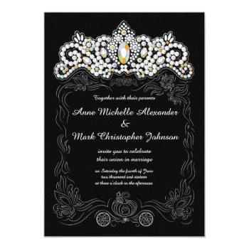 princess diamond tiara wedding invitation 5 x 7