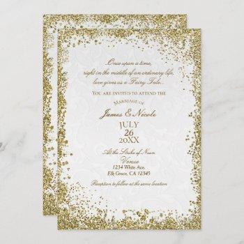 princess white damask storybook elegant wedding invitation