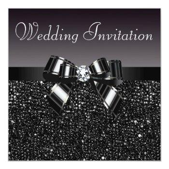 printed black sequins, bow & diamond wedding invitation