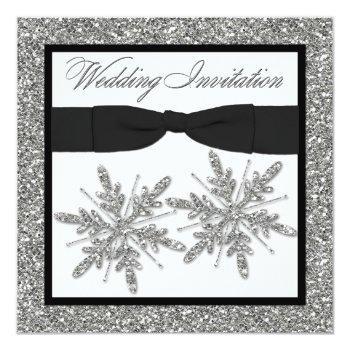 printed bow glitter look snowflakes wedding invite