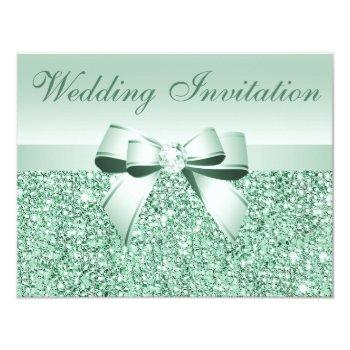 printed mint green sequins, bow & diamond wedding invitation
