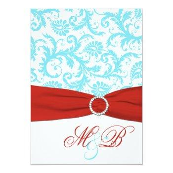 printed ribbon aqua red white damask invite