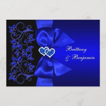 printed ribbon blue, black floral wedding invite