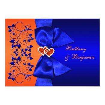 Small Printed Ribbon Blue, Orange Floral Wedding Invite Front View