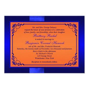 Small Printed Ribbon Blue, Orange Floral Wedding Invite Back View