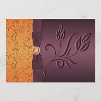 printed ribbon purple, tangerine wedding invite