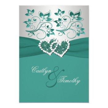 printed ribbon teal silver joined hearts invite