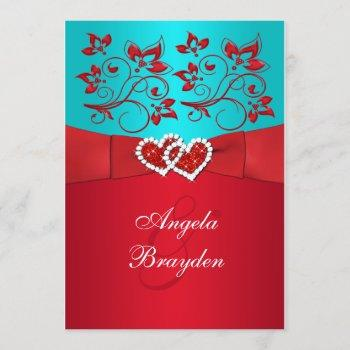 printed ribbon turquoise red floral wedding invite