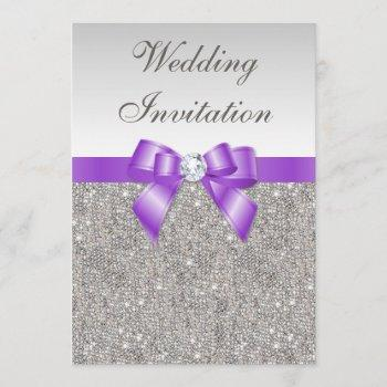 printed silver sequins and lavender bow wedding invitation