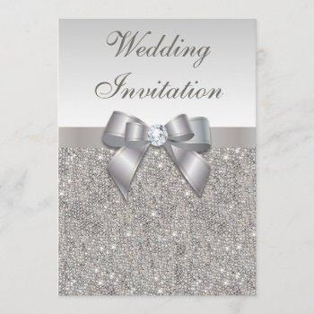 printed silver sequins diamonds and bow wedding invitation