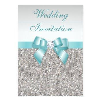 printed silver sequins diamonds teal bow wedding invitation