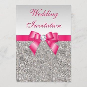 printed silver sequins hot pink bow wedding invitation