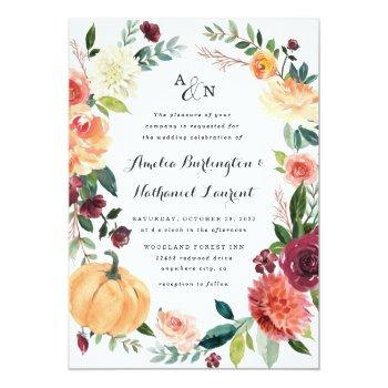 Small Pumpkin Elegant Fall Floral Rustic Themed Wedding Invitation Front View