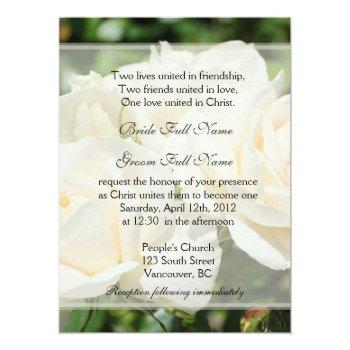 pure white rose flowers christian wedding invitation