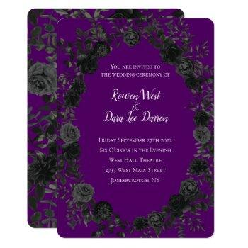 purple  and black rose gothic wedding invitations