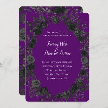 purple  and black rose gothic wedding invitations