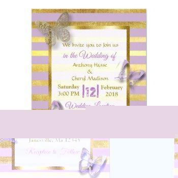 purple and gold butterfly wedding invitations