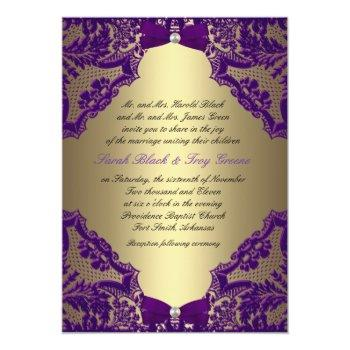 purple and gold wedding invitation