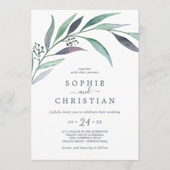 purple and green eucalyptus casual wedding invitation