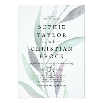 purple and green eucalyptus faded foliage wedding invitation