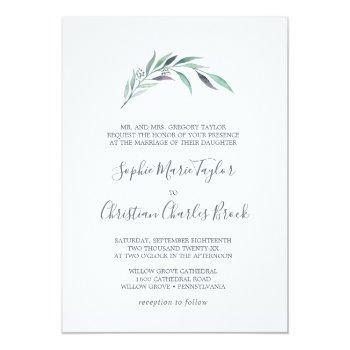 purple and green eucalyptus formal wedding invitation