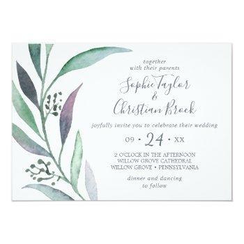 purple and green eucalyptus horizontal wedding invitation