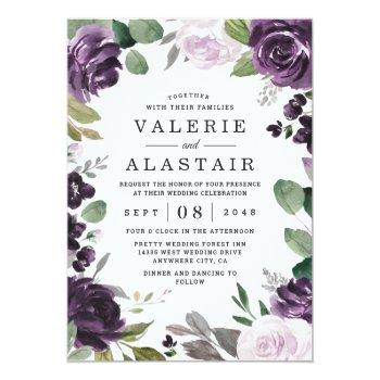 Small Purple And Silver Elegant Floral White Wedding Invitation Front View