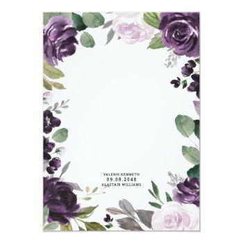 Small Purple And Silver Elegant Floral White Wedding Invitation Back View