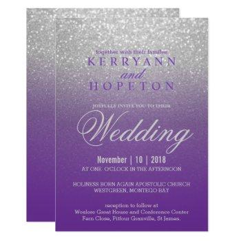 purple and silver glitter invitation
