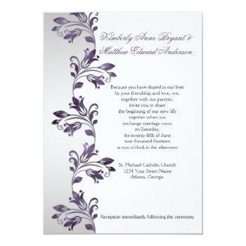 purple and silver ornate floral swirls weddings invitation