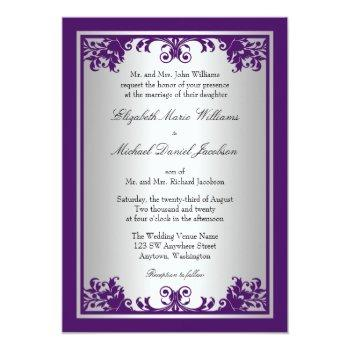 Small Purple And Silver Vintage Flourish Scroll Wedding Invitation Front View