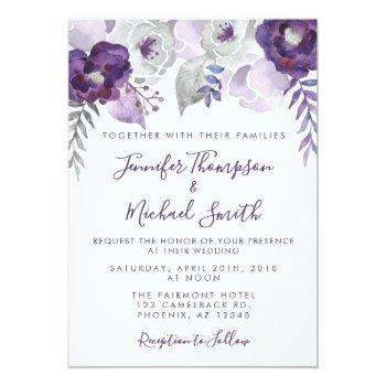 Small Purple And Silver Watercolor Floral Wedding Invitation Front View
