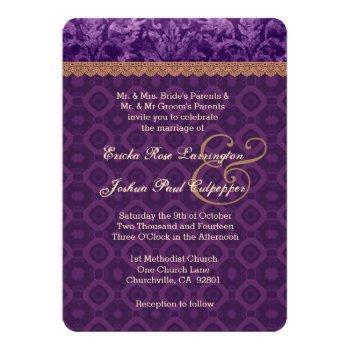 purple and tan damask wedding v16 invitation