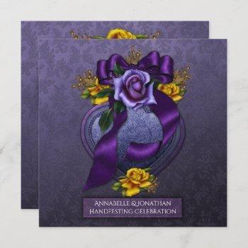 purple and yellow roses handfesting invitation |