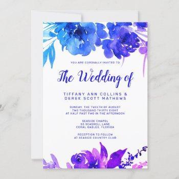 purple blue ombre watercolor floral wedding invitation