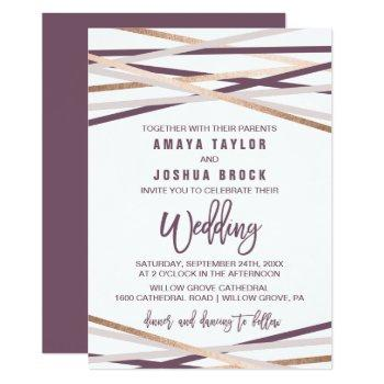 purple blush and rose gold streamers wedding invitation