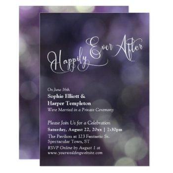 "purple bokeh light ""happily ever after"" typography invitation"