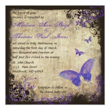 purple butterfly vintage square wedding invitation
