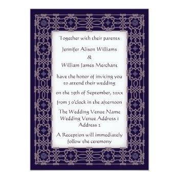 purple celtic knot border wedding invitations